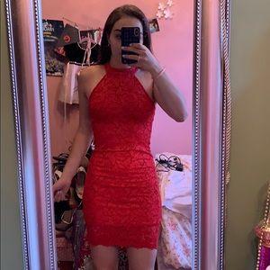 Zara Red Lace Bodycon Dress